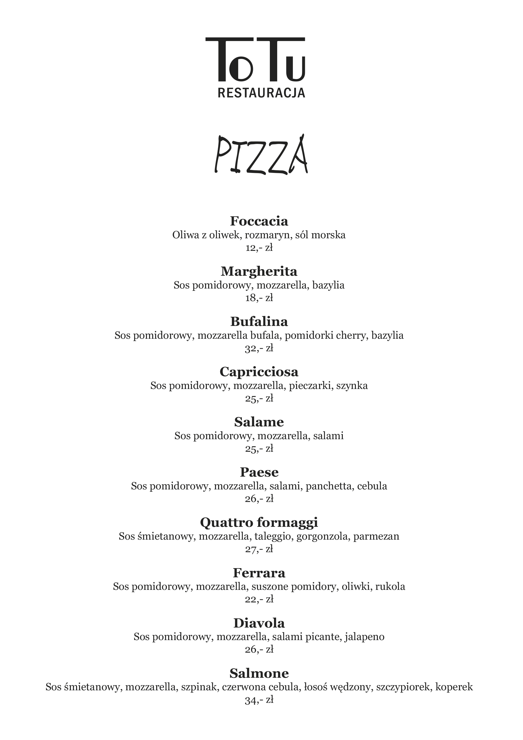 Menu Pizza Restauracji ToTu
